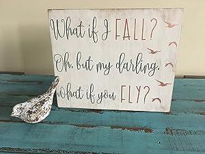 EricauBird Wood Sign-What If I Fall Oh, But My Darling, What If You Fly Rustic Wood Sign, Rustic Nursery Sign, Bird Nursery Sign, Gender Neutral Nursery, Home Wall Art, 8x12