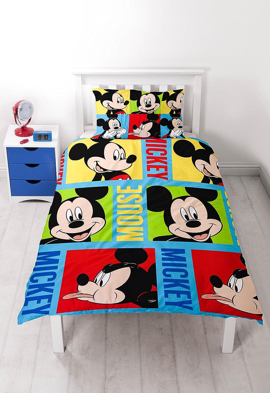 Disney Mickey Mouse 'Bright' Single Duvet Set - Repeat Print Design Character World DMMBRIDS003UK1