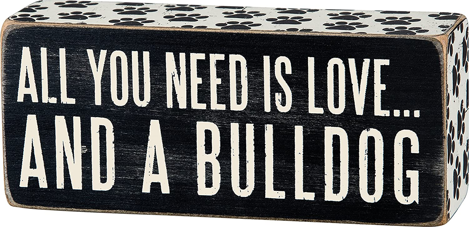 Primitives by Kathy Paw Print Trimmed Box Sign, 2.5 x 6-Inches, Bulldog