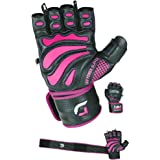 "Women Elite Leather Gym Gloves with Built in 2"" Wide Wrist Wraps Design for Weight Lifting, Power Lifting, Bodybuilding & Strength Training Workout Exercises"
