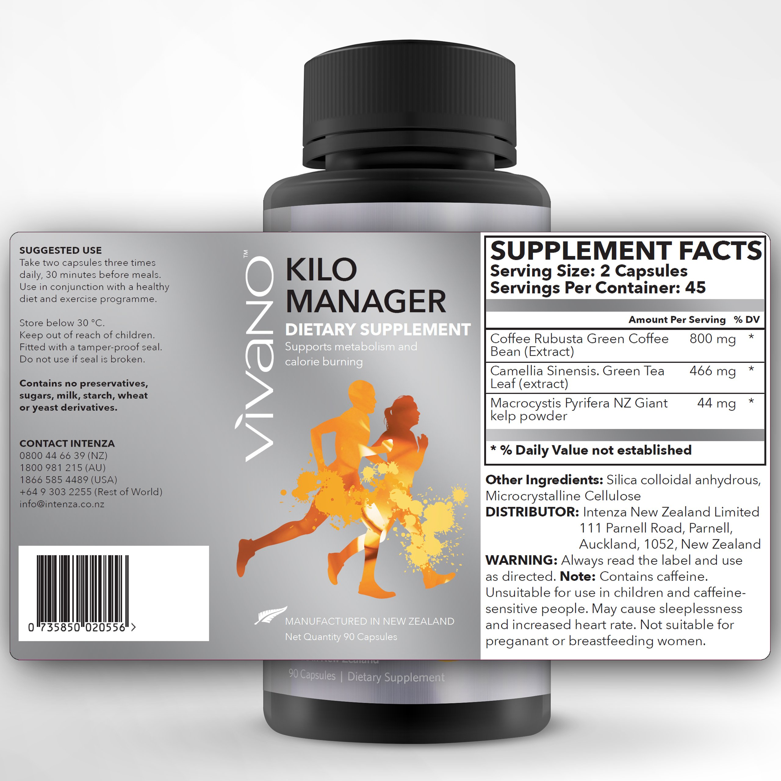 Premium Weight Loss Supplement - 100% Pure, Vivano Kilo Manager – Natural Fat & Calorie Burner and Metabolism Booster. with New Zealand kelp, Green Tea and Green Coffee Beans.