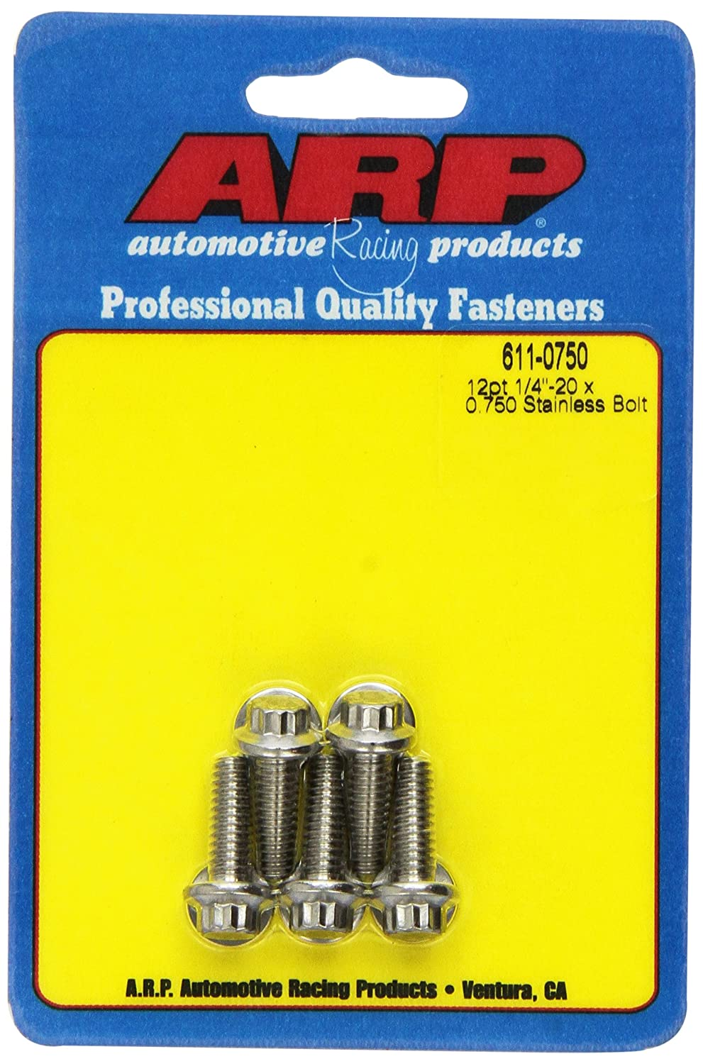 ARP 6110750 5-Pack Of Stainless Steel 12-Point Bolts, Size 1/4-20, 0.750 Under Head Length 611-0750