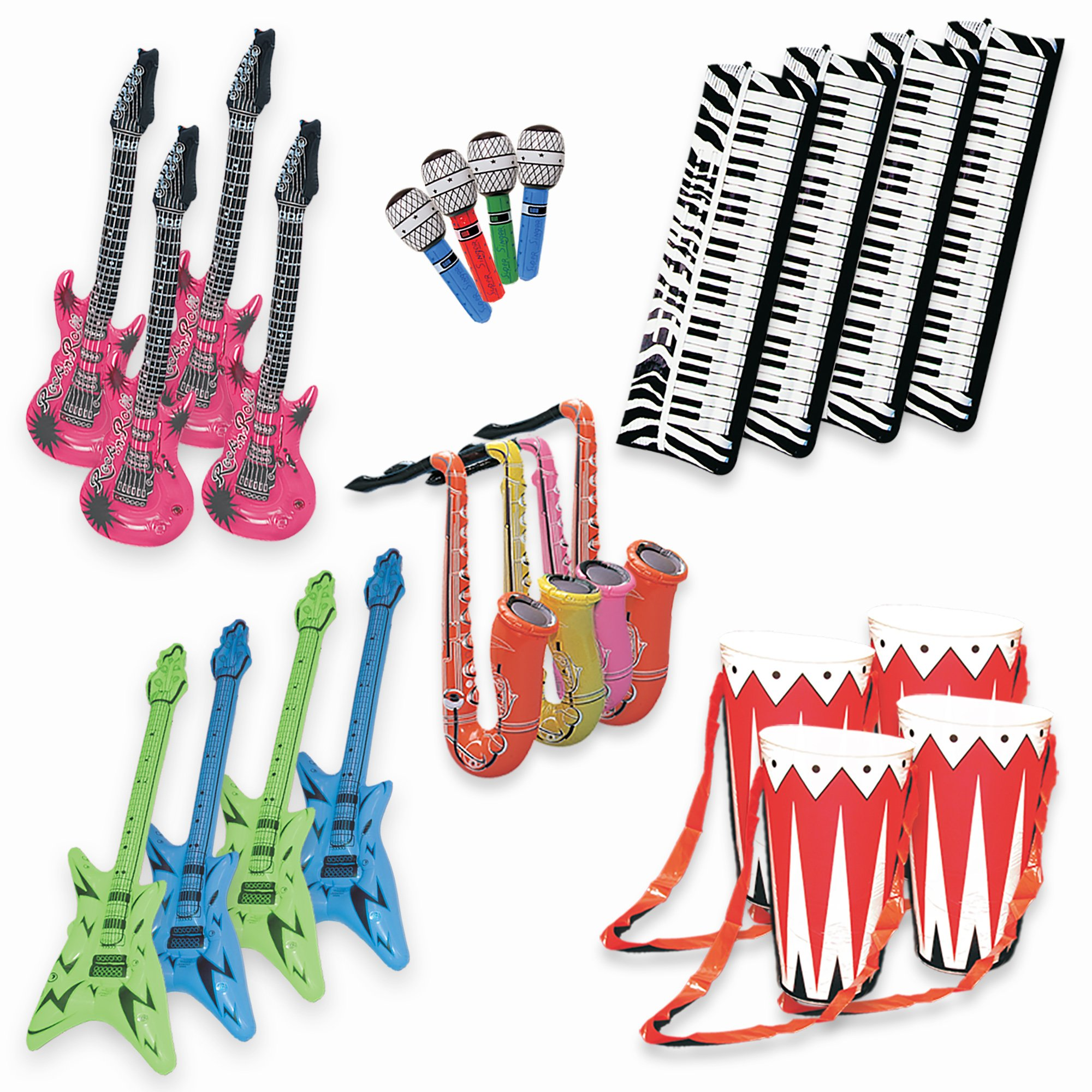 Band On The Run - Inflatable Musical Rock Band Instruments - 24 Piece Kit by Windy City Novelties