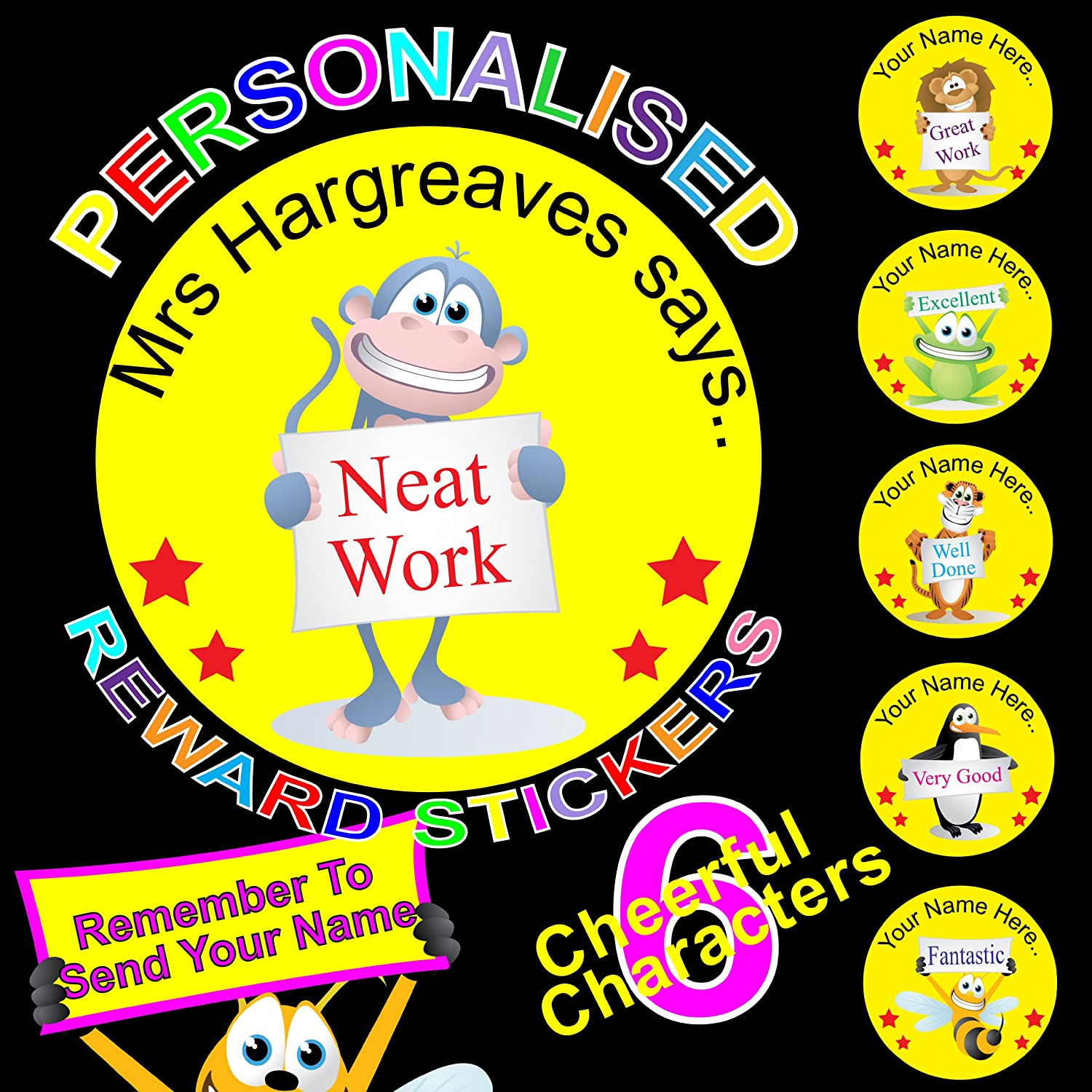 216 personalised reward stickers labels for teachers or parents add your name to the stickers to make them extra special a big encouragement for your
