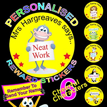 Reward stickers labels for teachers or parents personalised x 108 add your name to the