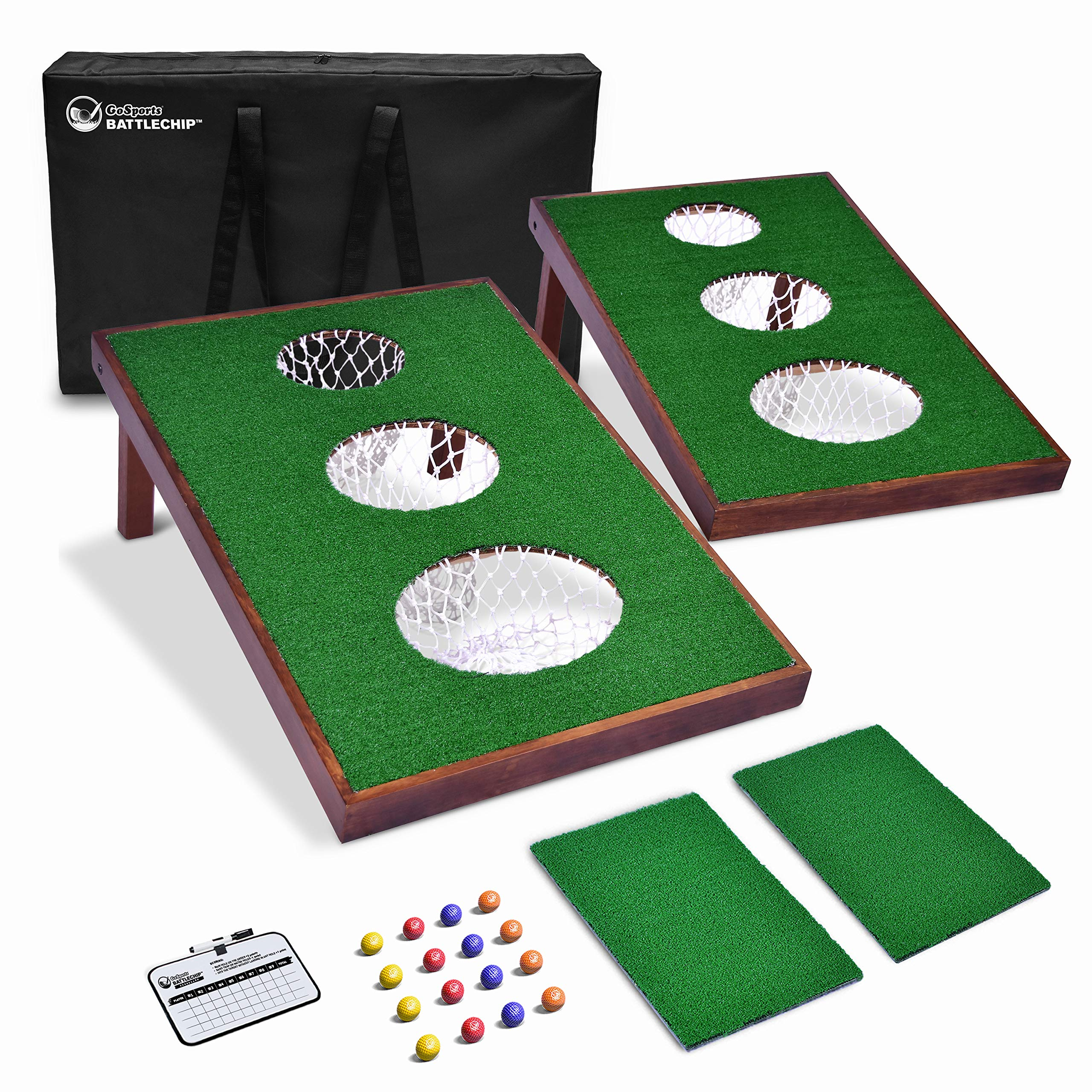 GoSports BattleChip Versus Golf Game | Includes Two 3' x 2' Targets, 16 Foam Balls, 2 Hitting Mats, Scorecard and Carrying Case