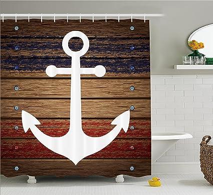 Amazon.com: White Boat Anchor Marine Nautical Shower Curtain Set ...