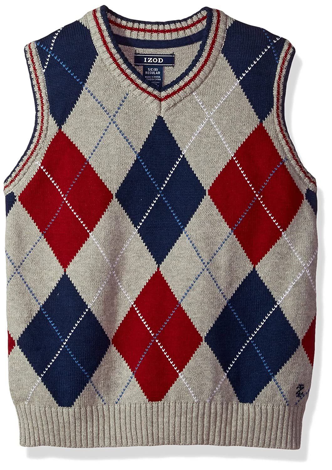 IZOD Boys' Big Large Argyle Sweater Vest, Light Grey, Small IZOD Children's Apparel Z813083W