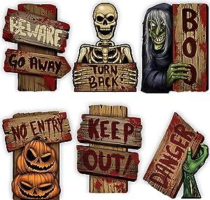 JOYIN 8 PCs Halloween Outdoor Decorations Corrugate Yard Stake Signs Beware Warning Halloween Props Lawn Yard Decorations, Trick or Treating Outdoor/Indoor Décor.