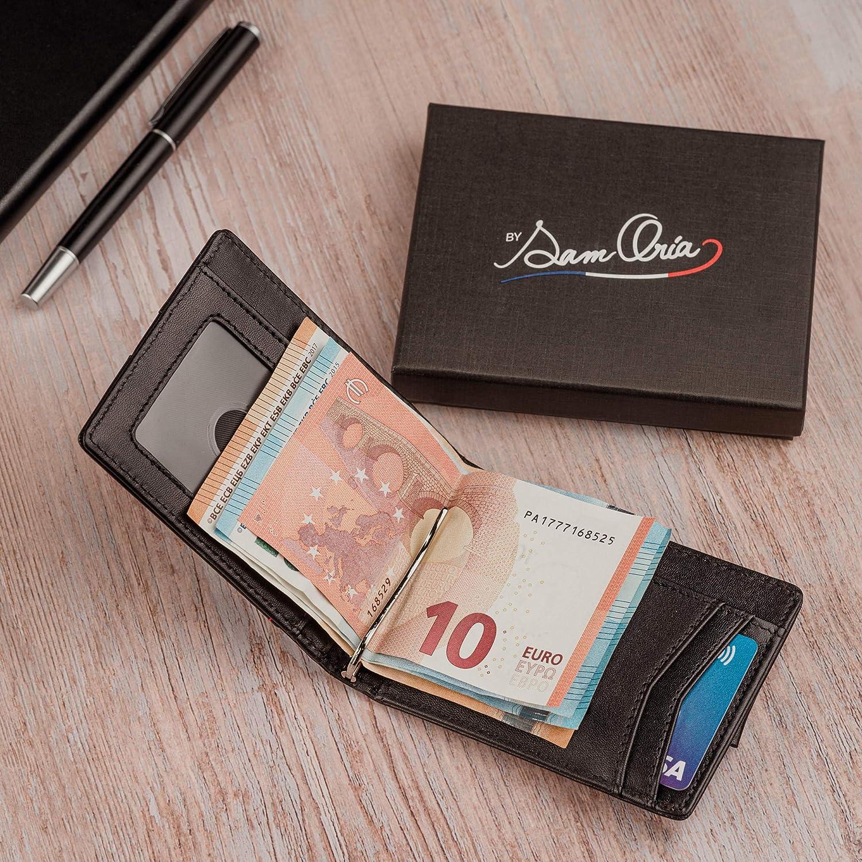By SamOria/™ Acc/ès Facile /à Toutes Vos Cartes et Blocage Anti-RFID Portefeuille pour Homme en Cuir V/éritable Minimaliste et Fonctionnel avec Pince /à Billets en Acier