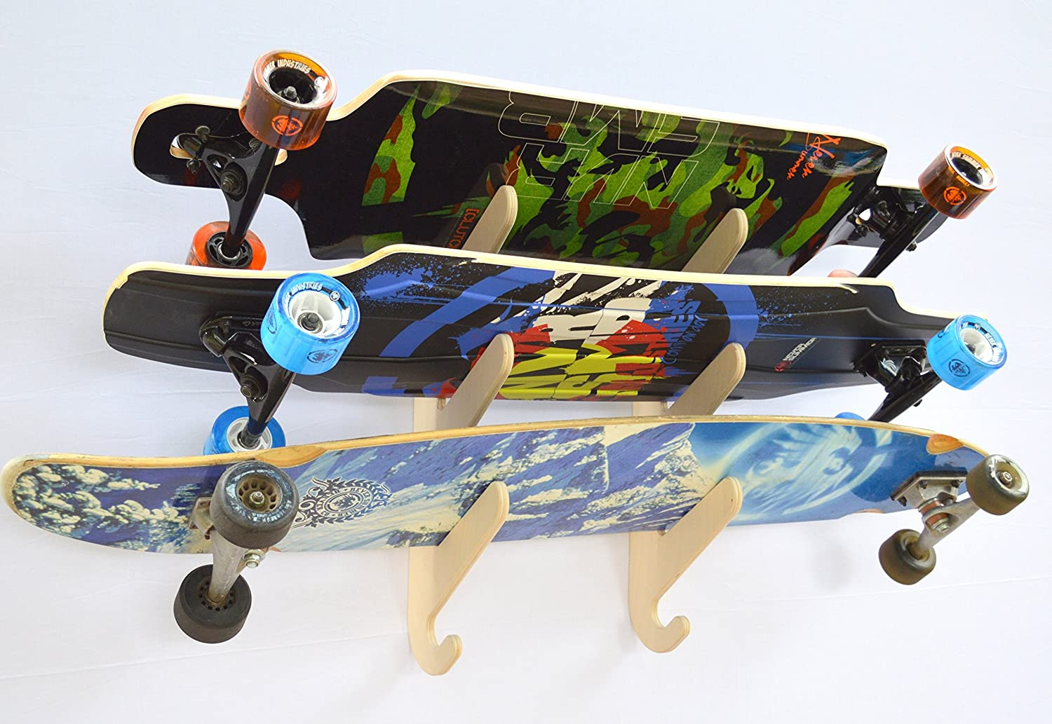 c7412b5c Amazon.com : Longboard Skateboard Hanging Wall Rack -- Holds 3 Boards :  Sports & Outdoors