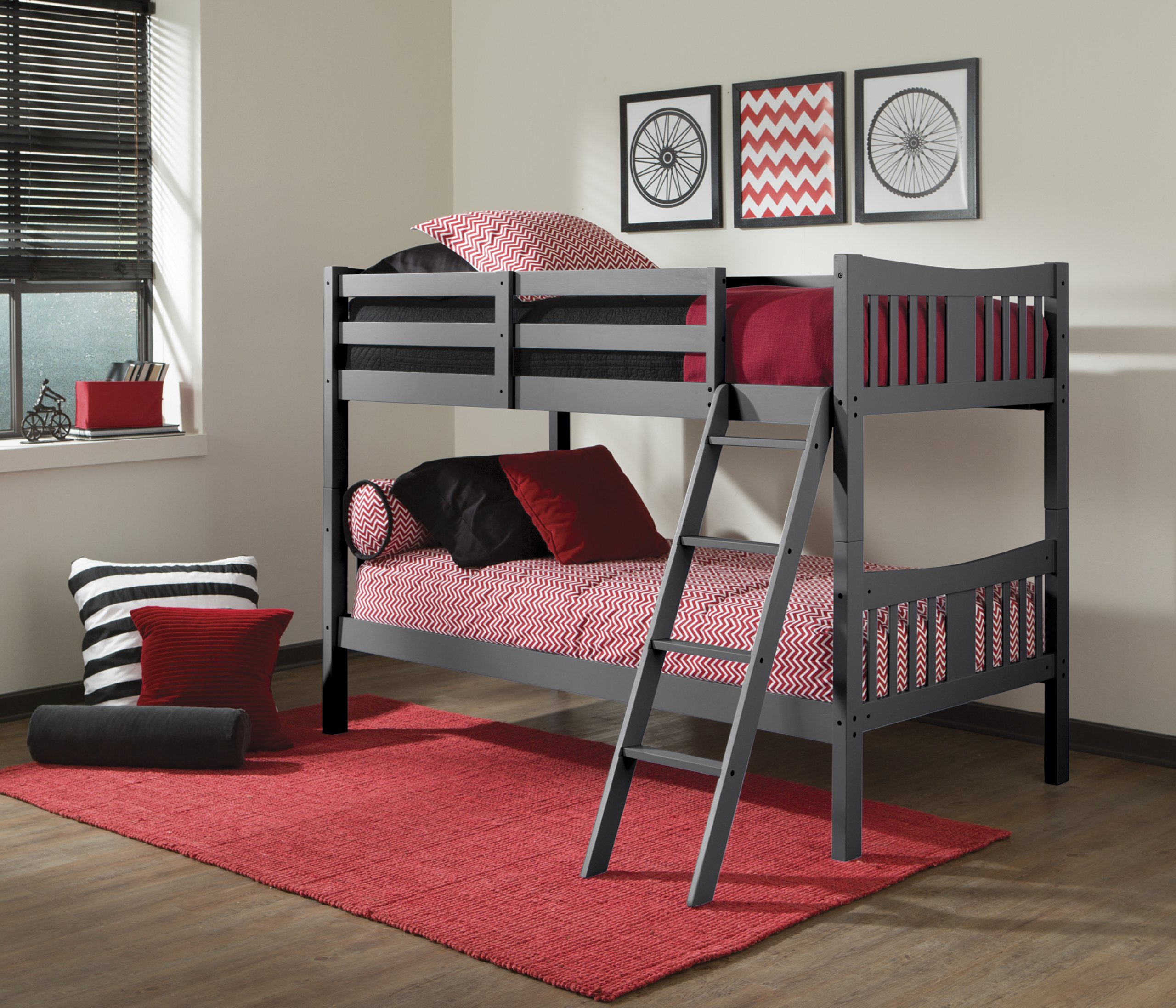 Storkcraft Caribou Solid Hardwood Twin Bunk Bed, Gray Twin Bunk Beds for Kids with Ladder and Safety Rail by Stork Craft