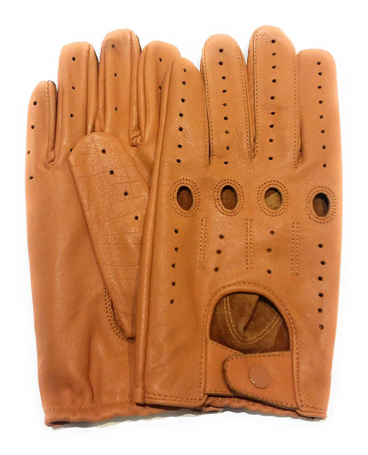 Sportsimpex Men's Leather Driving Gloves Tan (Small, Tan)