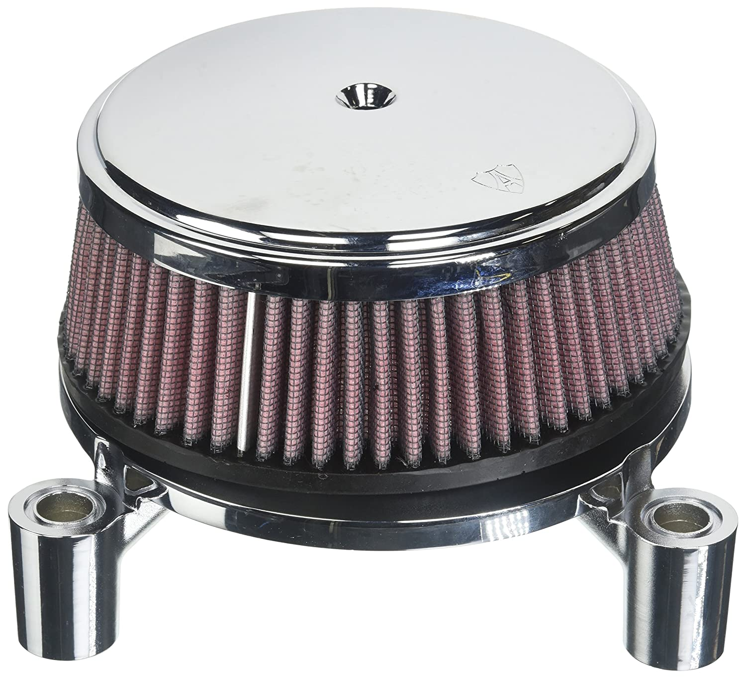 Arlen Ness Billet Sucker Stage I Air Filter Kit with Steel Cover - Smooth Chrome - Red Filter 18-320