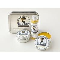 Be King's, balsamo barba da 30ml, cera baffi da 30ml e 30ml di olio da barba in esclusiva confezione regalo, 100% prodotti naturali.