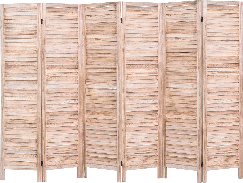Rose Home Fashion RHF 6 Panel 5.6 Ft Tall Wood Room Divider, Wood Folding Room Divider Screens, Panel Divider&Room Dividers, Room Dividers and Folding Privacy Screens (6 Panel, Nature)
