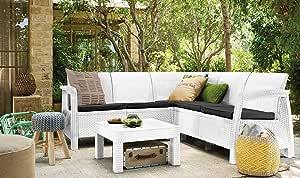 Salón Corfu Resina antigolpes Polirratán Blanco Muebles Jardín: Amazon.es: Jardín