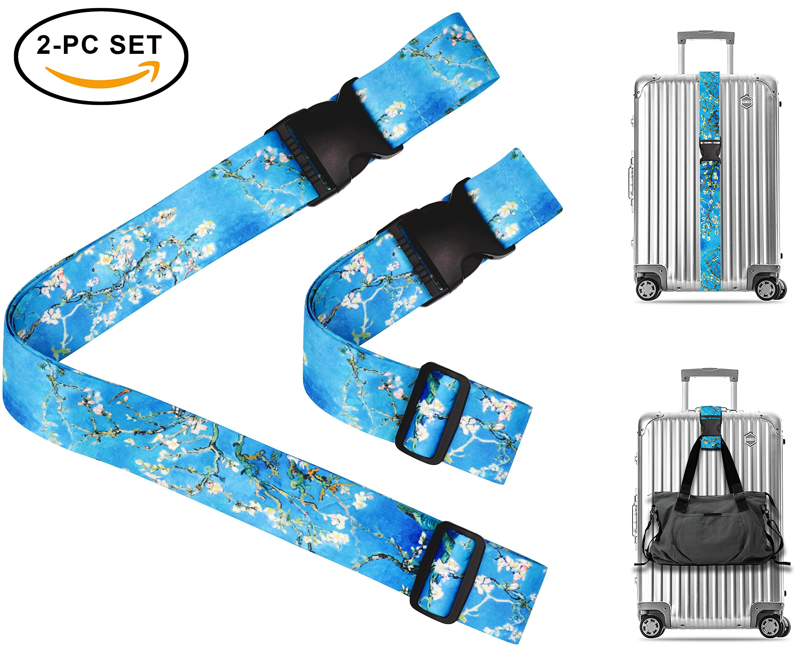 Vincent Van Gogh Almond Blossom Travel Luggage Strap Suitcase Security Belt. Heavy Duty & Adjustable. Must Have Travel Accessories. TSA Compliant. 1 Luggage Strap & 1 Add A Bag Strap. 2-Piece Set.