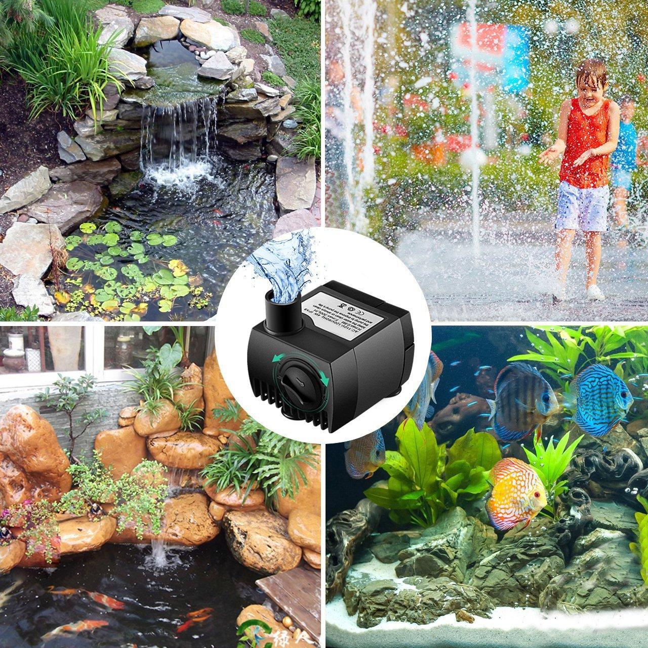Aquarium Gartenteich Springbrunnen Brunnen SeeKool Mini Wasserpumpe 300L//H 3W Submersible Pumpe Tauchpumpe Unterwasser f/ür Teiche,Fisch Beh/älter Garten Aquariumpumpe