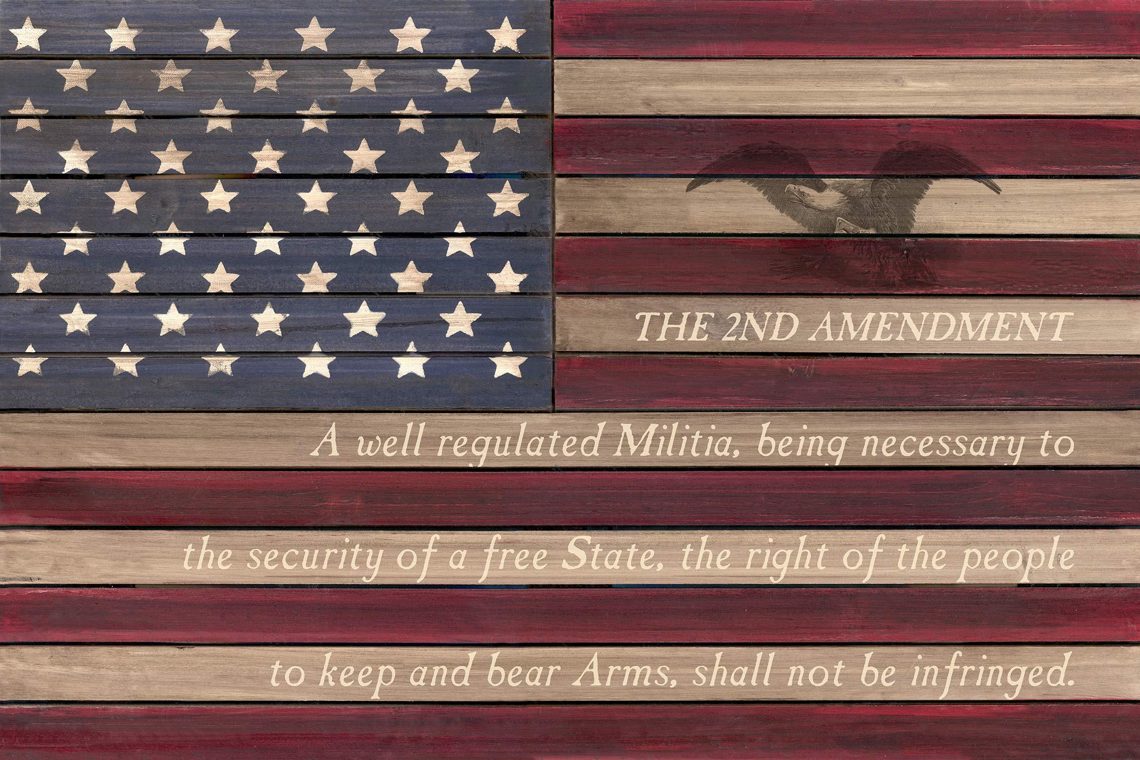 Reflective Art 2nd US Flag-2nd Amendment Slat Wood Wall Art, 24'' Lx16 Hx2 W, Multi
