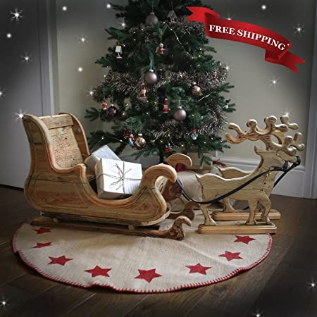 Hand Carved Wooden Christmas Sleigh And Reindeer Decor Handmade In