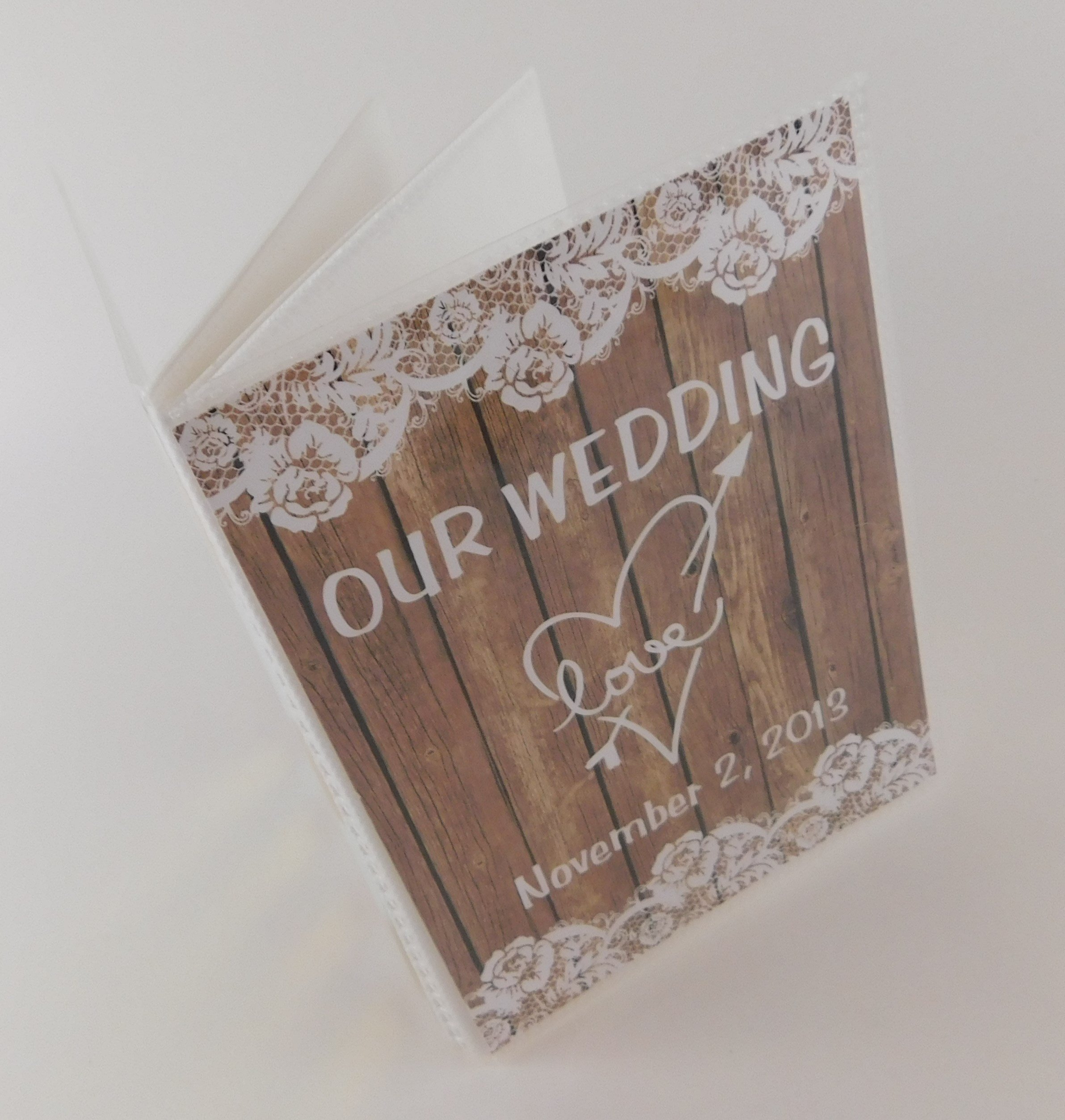 Our Wedding Photo Album IA#375 Personalized Rustic Bridal Shower Gift NOT REAL WOOD or LACE