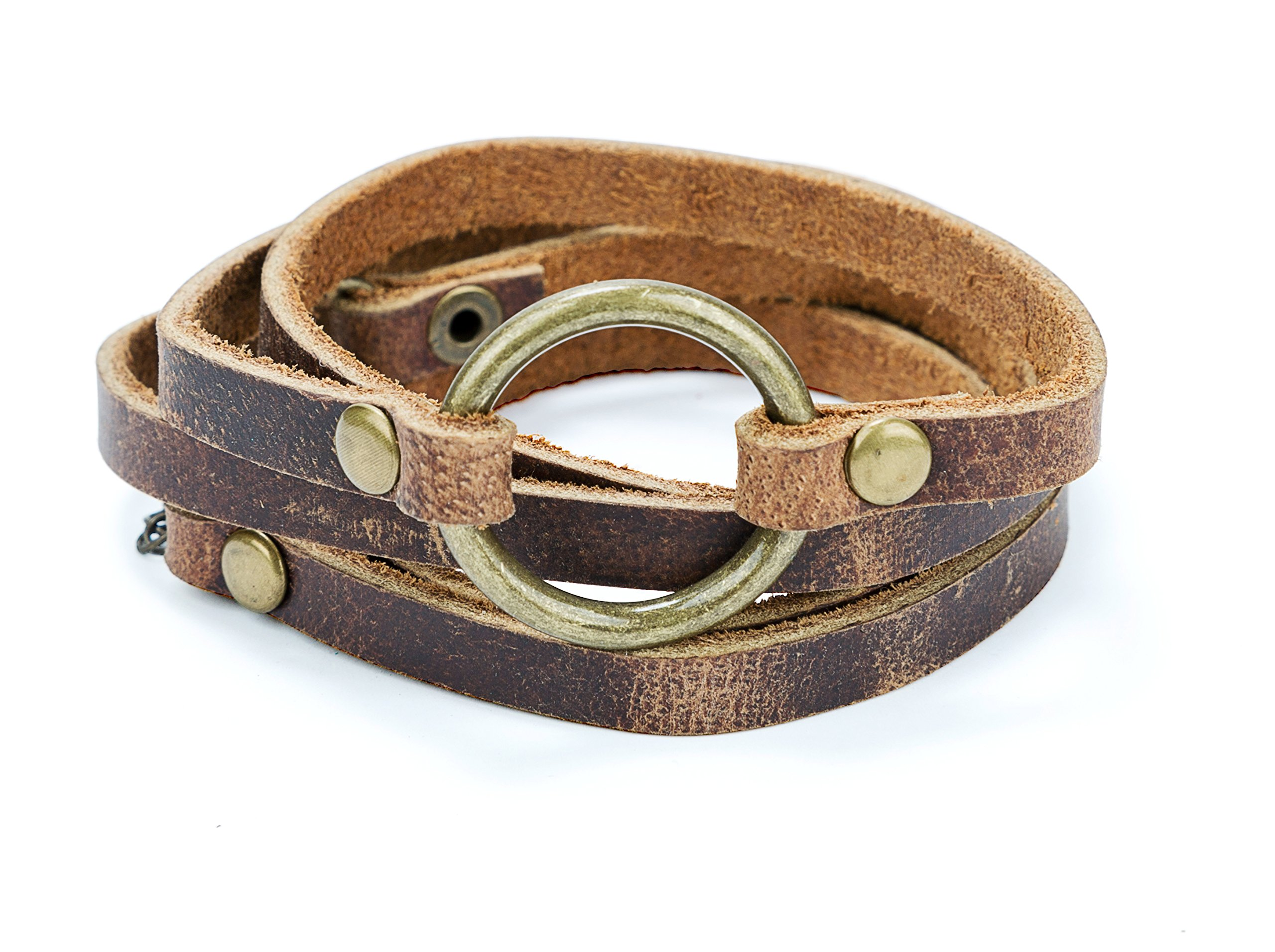 SPUNKYsoul 5 Wrap Leather Circle Bracelet Brown for Women Collection (Brown)