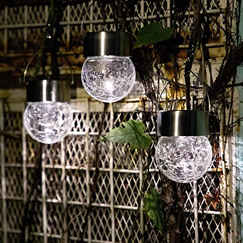 SUNWIND Hanging Solar Ball Lights Outdoor – 8 Pack Cracked Glass Decorative Garden Lights Waterproof Solar Lanterns for Yard, Patio, Fence, Tree, or Holiday Decoration White