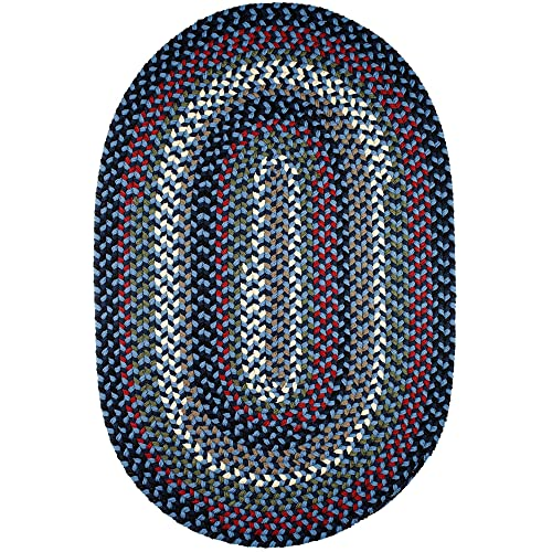 Super Area Rugs Santa Maria Braided Rug Indoor Outdoor Rug Washable Reversible Blue Patio Deck Carpet, 3 X 5 Oval