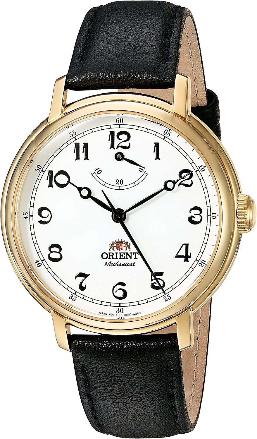 Orient Men s Monarch Mechanical Hand Wind Stainless Steel and Leather Dress Watch