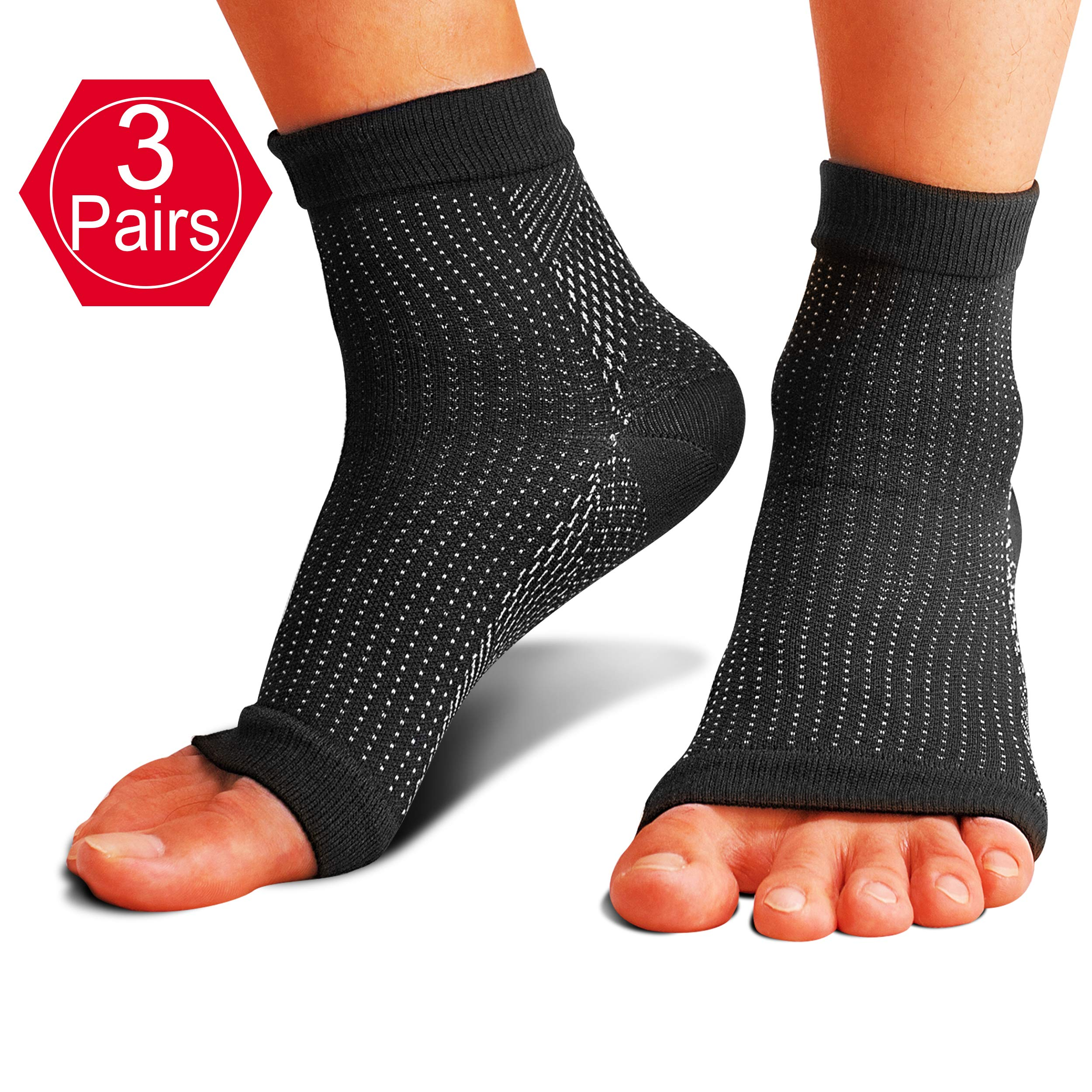 Foot Compression Socks, 3 Pairs Plantar Fasciitis Socks with Arch Support for Men Women - Best Compression Foot Sleeve for Aching Feet & Heel Pain Relief - Better Than Night Splint, Size S/M.