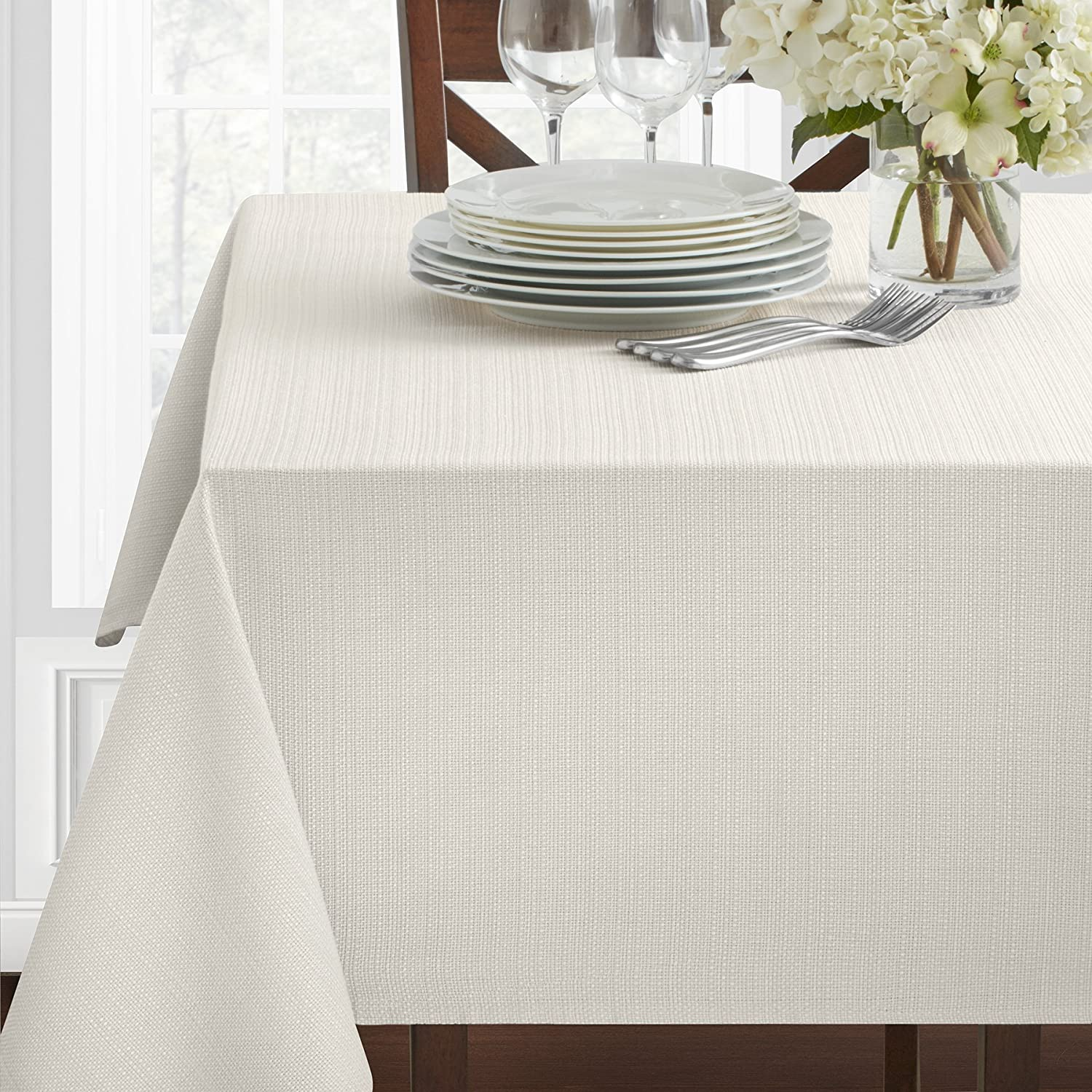 "Benson Mills Textured Fabric Tablecloth, 60"" x 120"" Rectangular, White"