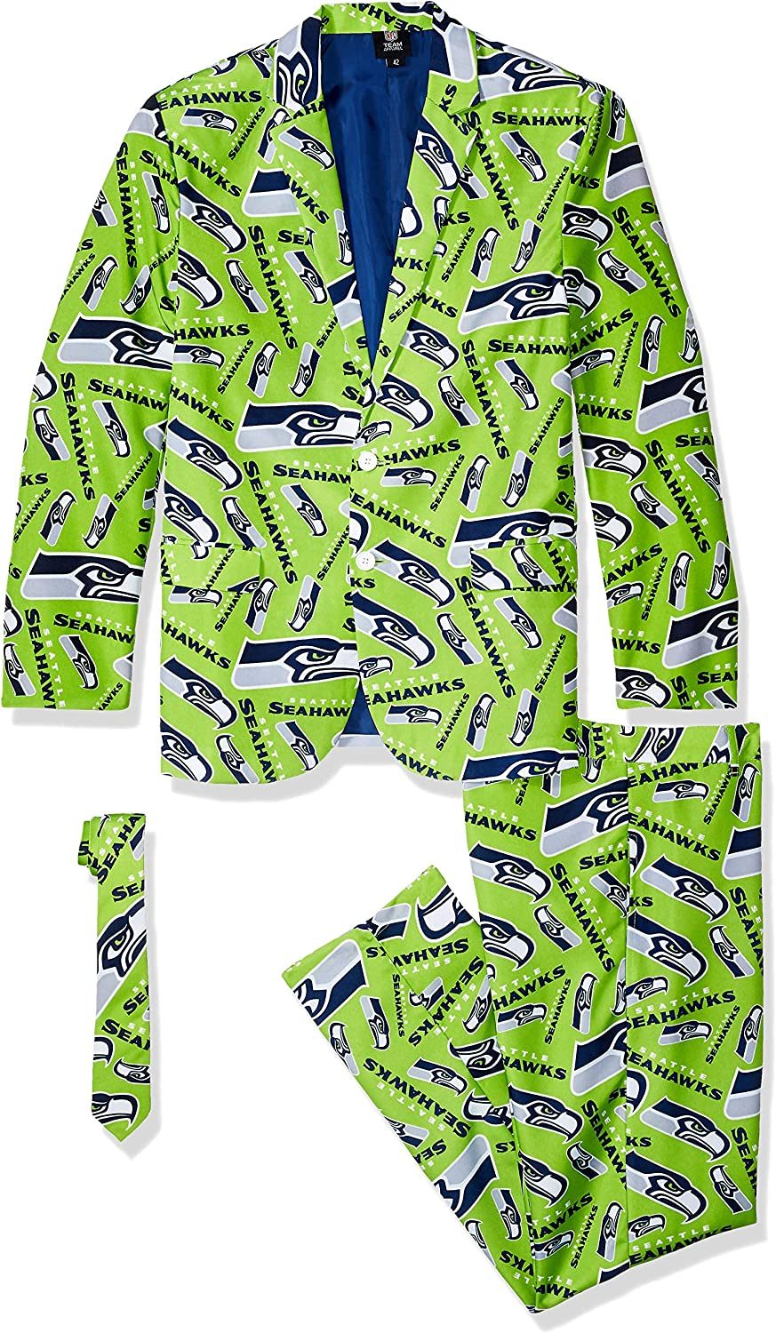 Forever Collectibles NFL Mens Repeat Logo Ugly Business Suit Jacket Tie Pants