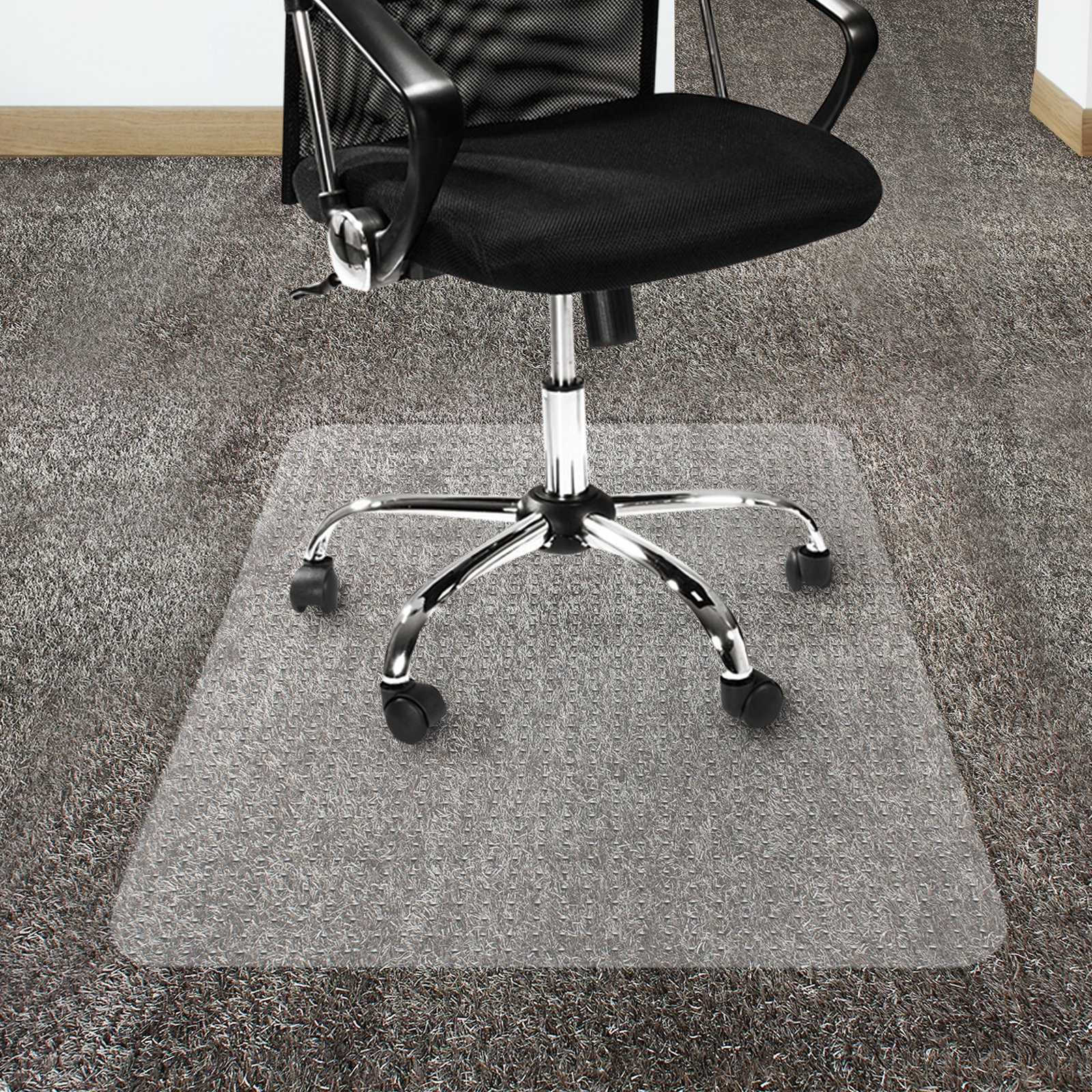 Office Marshal Polycarbonate Chair Mat for High Pile Carpet Floors, 36'' x 48'' - Multiple Sizes - Clear, Studded, Carpet Floor Protection Mat