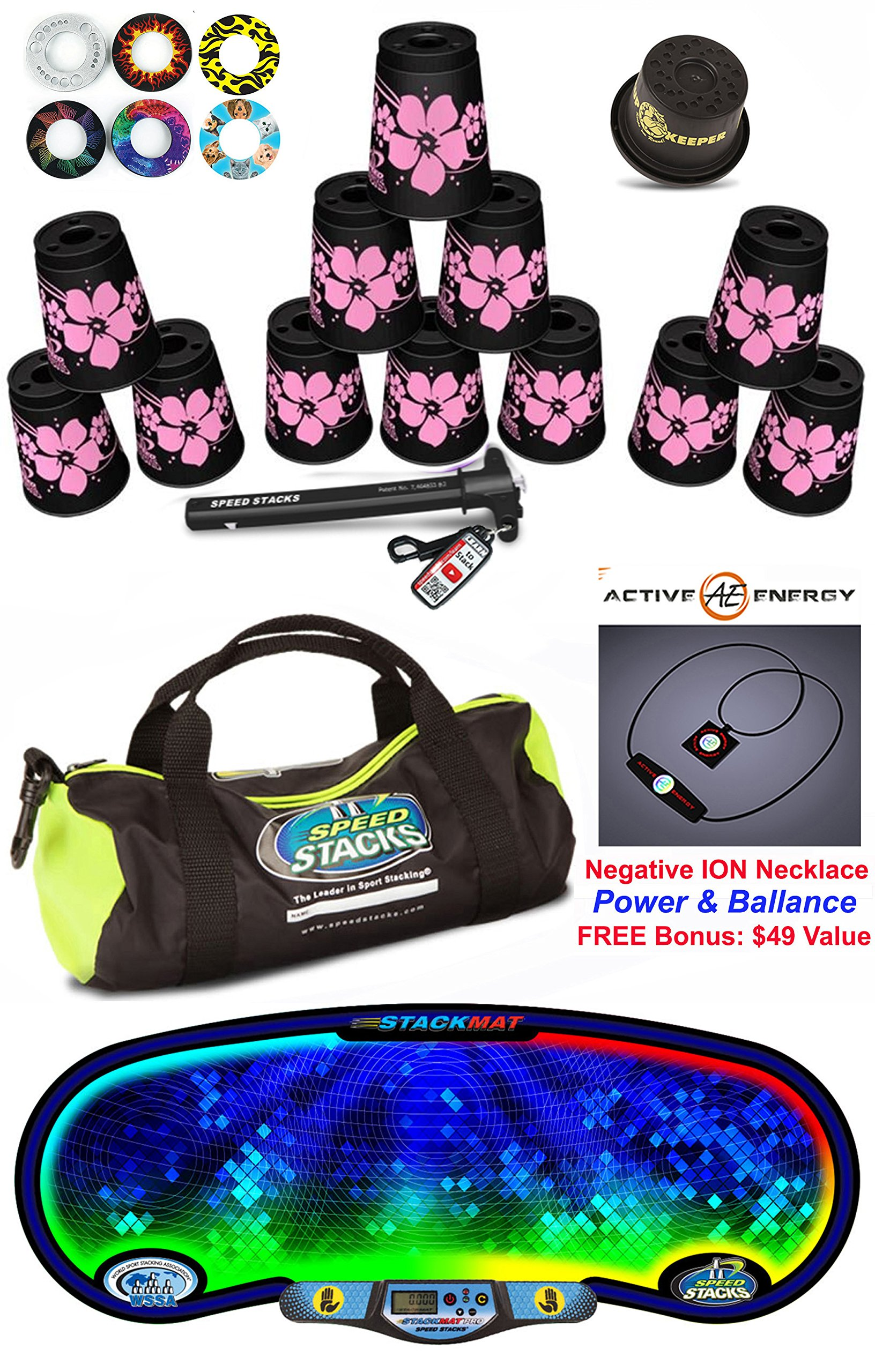 Speed Stacks Custom Combo Set - The Works: 12 PINK HAWAIIAN 4'' Cups, Cup Keeper, Quick Release Stem, Pro Timer, Gen 3 Premium VOXEL GLOW Mat, Gear Bag & FREE: Active Energy Necklace $49 Value