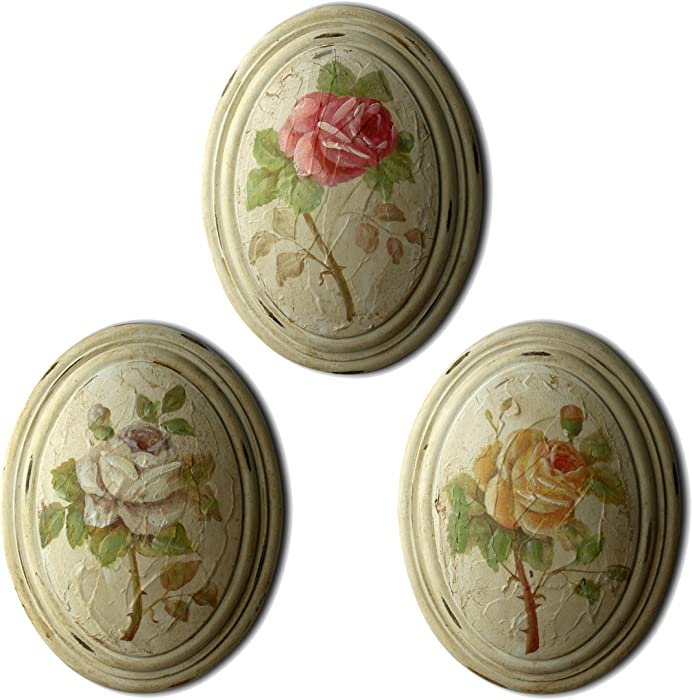 CVHOMEDECO. Primitive Retro Hand Painted Oval Wooden Frame Wall Hanging 3D Painting Decoration Art, Rose Flower Design, 6-3/4 x 8-3/4 Inch, Set of 3.