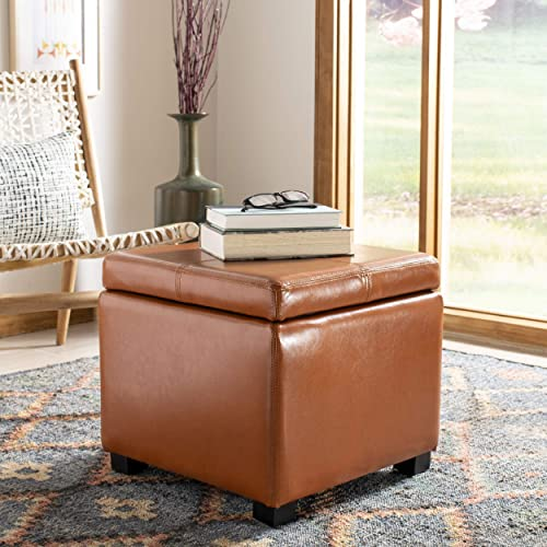 Safavieh Hudson Collection Williamsburg Saddle Leather Square Storage Ottoman
