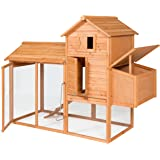 Best Choice Products 80in Wooden Chicken Coop Nest Box Hen House Poultry Cage Hutch w/Ramp and Locking Doors - Brown