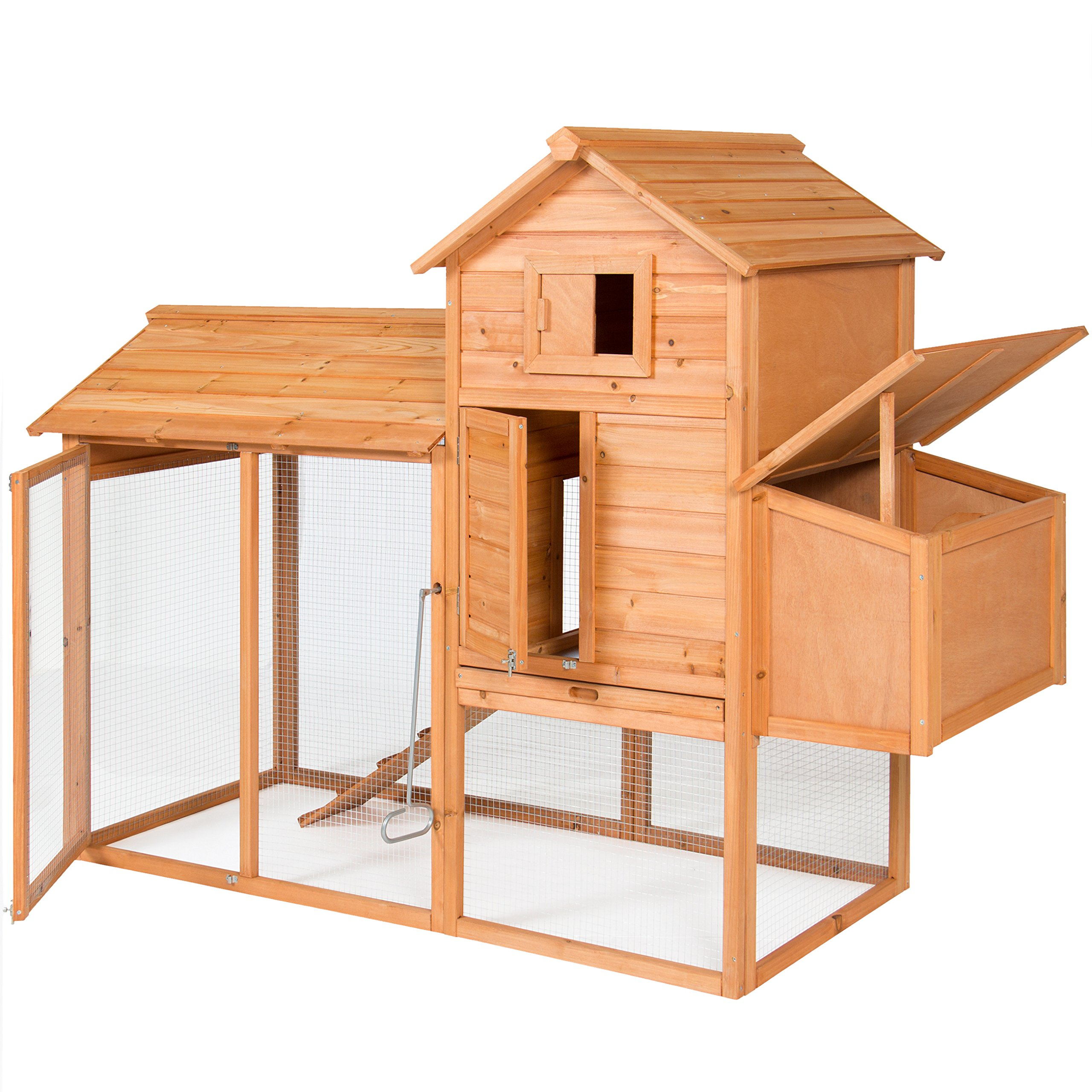 Best Choice Products 80'' Wooden Chicken Coop Backyard Nest Box Wood Hen House Poultry Cage Hutch