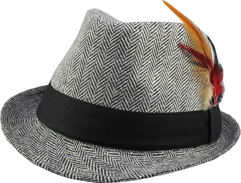 4fdb1ea1458 1940 s   1950 s Style Herringbone Fedora Hat - Retro Americana (L XL ...