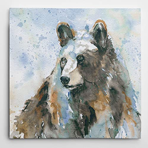 WEXFORD HOME Black Bear On Blue Gallery Wrapped Canvas Wall Art