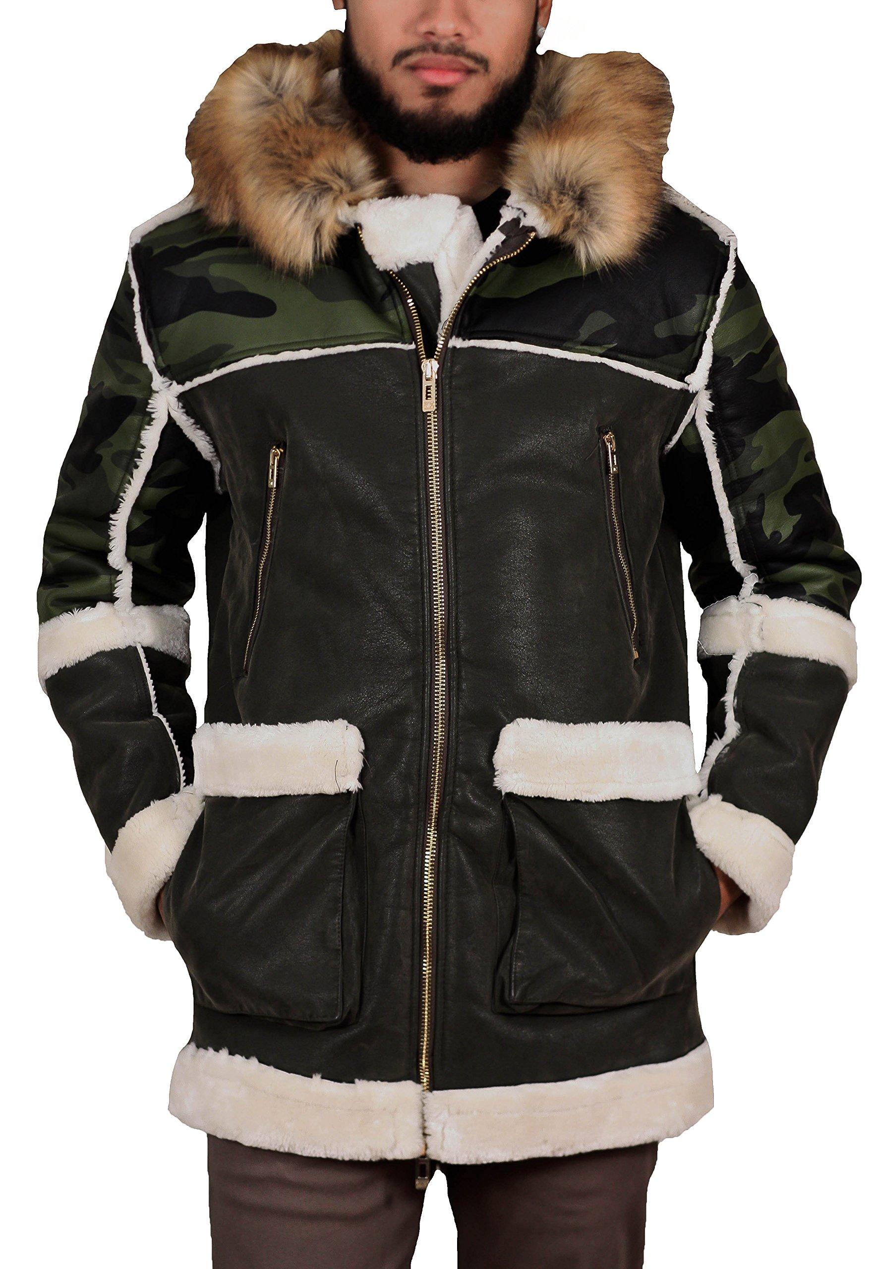 Jordan Craig Hooded Fur Shearling Coat Woodland (91334) Sz. XL by Jordan Craig