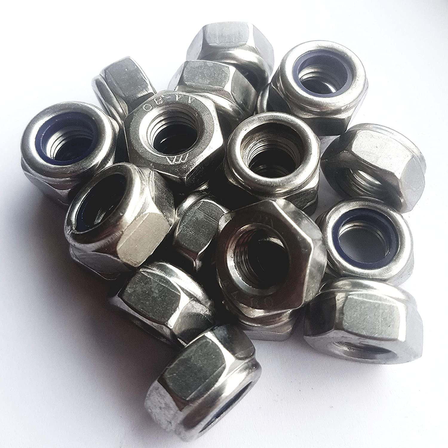 Nyloc Nylon Nut M3//4//5//6//8//10//12 Insert Locking A4 Marine Grade Stainless SS316 25 Pack x M3 Nylock A4 Nuts