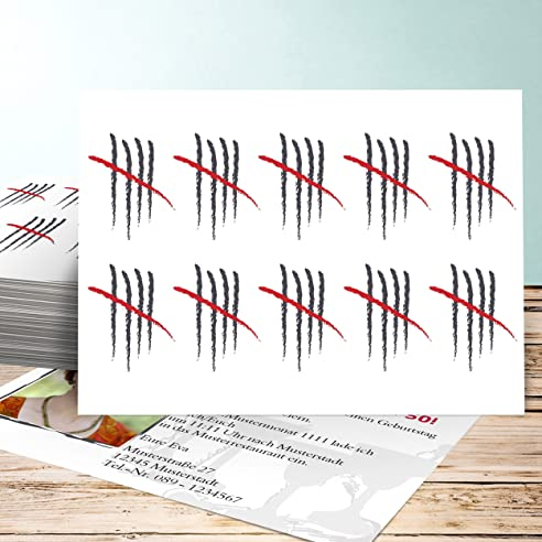 Einladungskarten 50 Geburtstag Selber Gestalten, Strichliste 50 Foto 30  Karten, Horizontal Einfach 148x105 Inkl