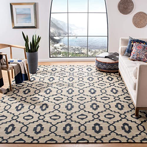 Safavieh Classic Collection CL359E Handmade Traditional Oriental Ivory and Navy Wool Round Area Rug 6 Diameter