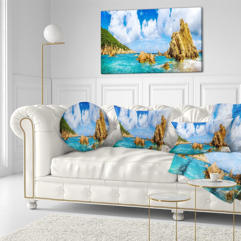 Sofa Throw Pillow 20 Designart CU8956-20-20-C Costa Paradise Panorama Seashore Photo Round Cushion Cover for Living Room