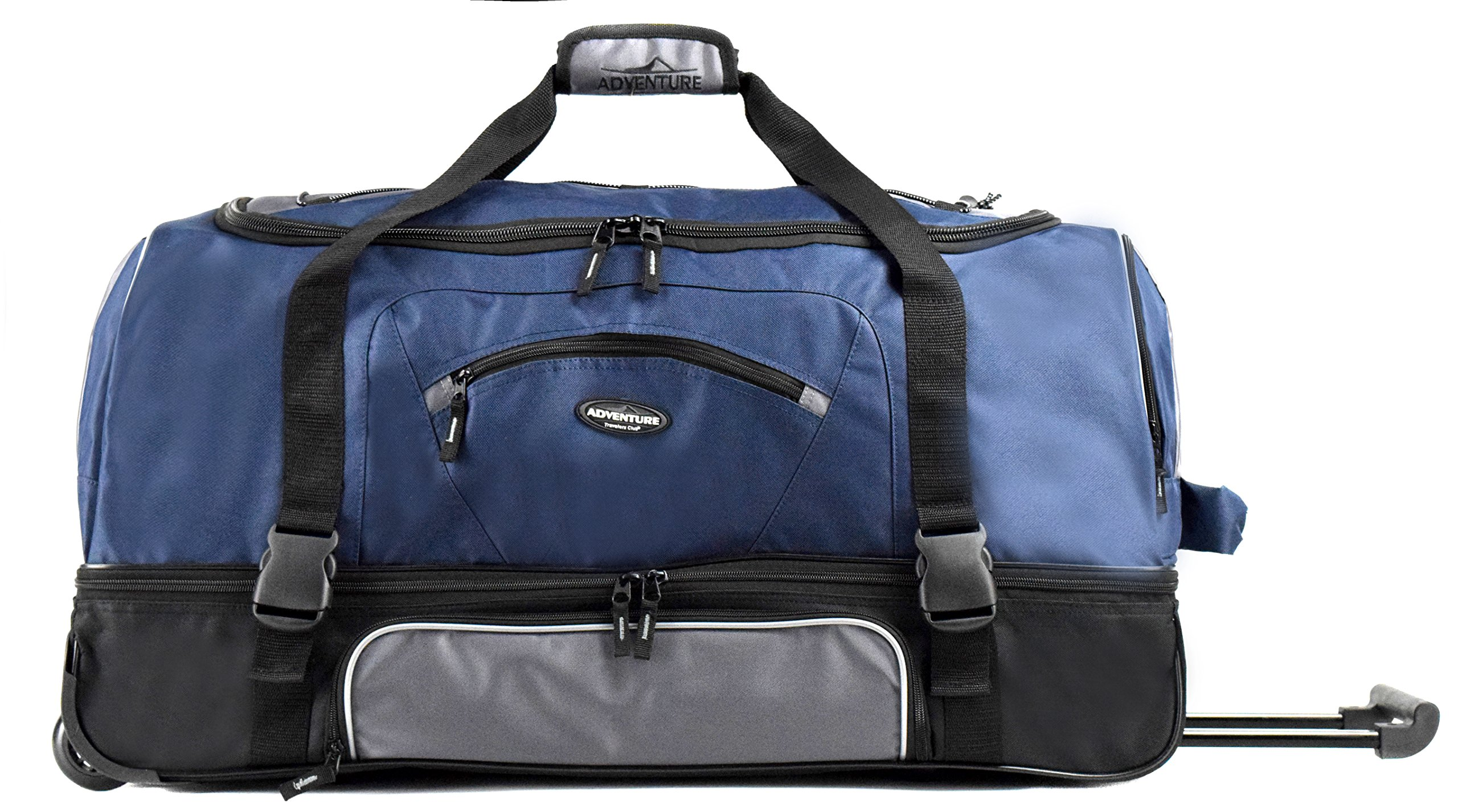"Travelers Club 30"" ADVENTURE Double Packing Compartment Rolling Duffel, Navy with Gray Color Option"