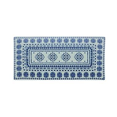 Fitz & Floyd IG31243 Blue Antico Rectangular Platter-17 x 8  Serving Platter, White/Blue