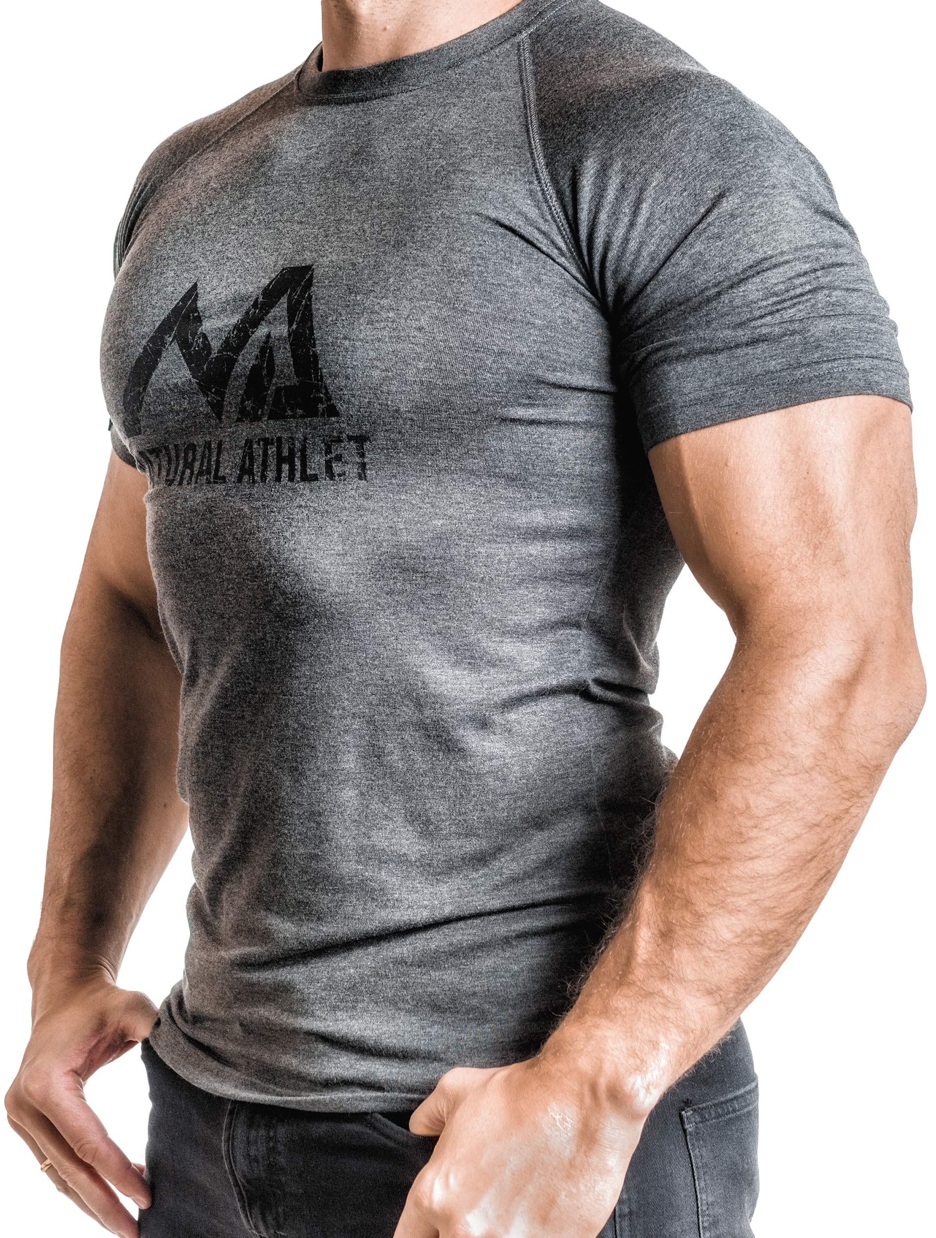 09beceaade4f92 Herren Fitness T-Shirt meliert - Männer Kurzarm Shirt für Gym   Training -  Passform Slim-Fit
