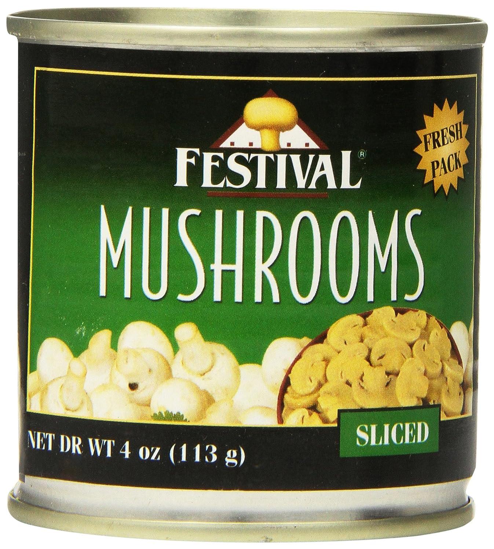 Festival Sliced Whole Mushrooms - Fresh Pack, 4-Ounce (Pack of 24)